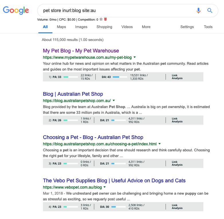 Google Search Operator inurl site