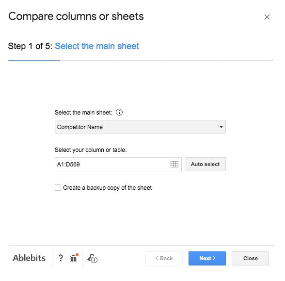 Compare Columns Step 1