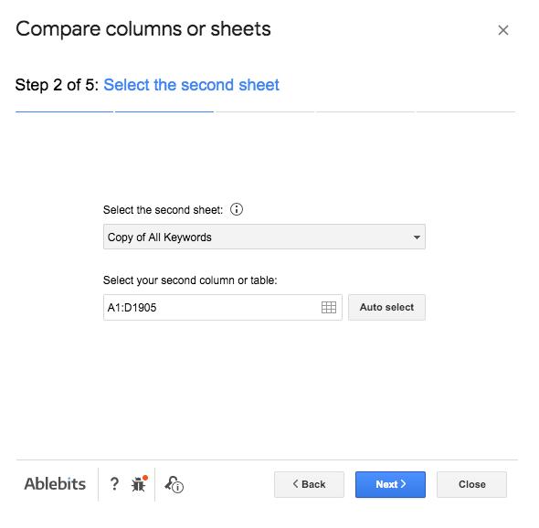 Compare columns Step 2