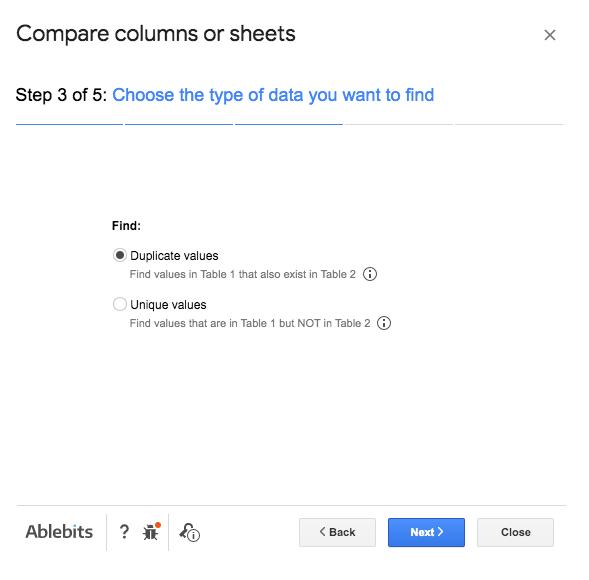 Compare columns or sheets