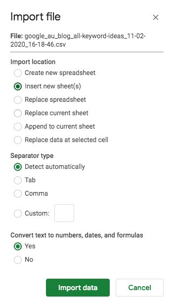 Import Keyword Ideas into Google Sheets