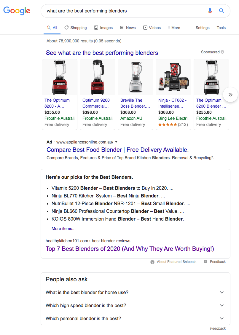 Displays an example of a voice-search result on Google and the Featured Snippet Position